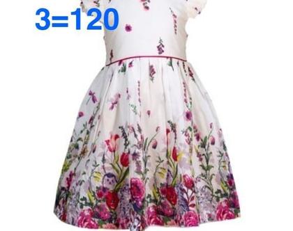 שמלה מסתובבת לילדה   שמלה פרחונית לילדה   שמלת פרחים מטפסים חצי שרוול וחגורת קשירה