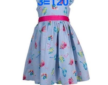 שמלה לילדה   שמלת תכלת לילדה   מודפסת פלמינגו עם חגורה בייבי בלו