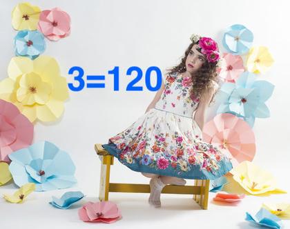 שמלה לילדה   שמלת פרחונית לילדה  שרוול קצר
