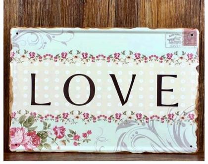 שלט לתליה מפח בסגנון רטרו - love - תמונה מקסימה לתליה
