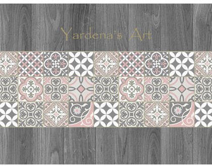 ראנר PVC מעוצב ♥ 3 - Mix Tiles | ראנר ויניל מעוצב לשולחן | ראנר מבודד חום | ראנר מעוצב לשולחן האוכל