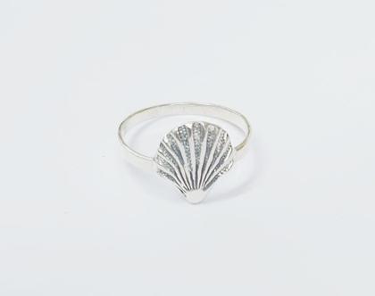 טבעת צדף מעוצבת מכסף טהור 925 | שרשרת גולדפילד | צדף | גולדפילד | תליון של צדף | ים | שרשרת ארוכה | מתנה לגבר