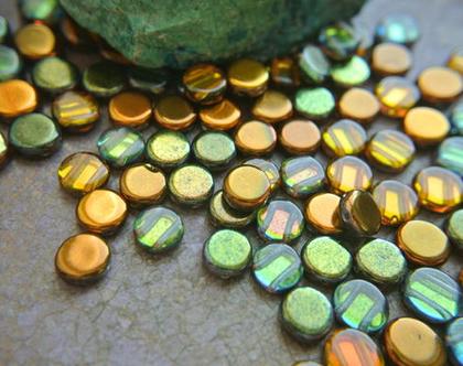 """חרוזי זכוכית צבעוניים, 2 כניסות, זכוכית צ'כית בצורת מטבע, גודל 8מ""""מ, 25 חרוזים"""