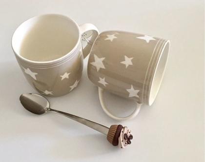 סט של 4 ספלים לקפה או תה עם כוכבים