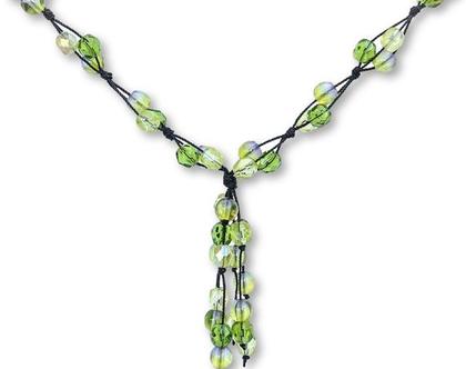 שרשרת קשירות ירוקה, שרשראות עבודת יד, שרשרת אופנתית, שרשרת מיוחדת, שרשרת מעוצבת