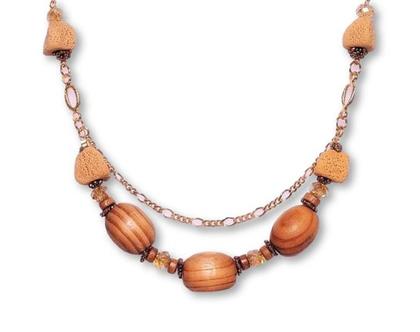 שרשרת חרוזי עץ אופנתית, שרשראות לנשים, שרשרת מיוחדת, שרשרת מעוצבת, שרשרת עבודת יד