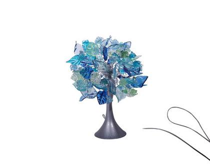 מנורת שידה פרחים ועלים צבעי ים