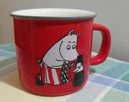 """כוס ספל ספלים אמייל חדשה מומינים 300 מ""""ל צבע אדום מקורית איכותית טיולים קפה תה סרטים מצוירים מומין טרול מתנה"""