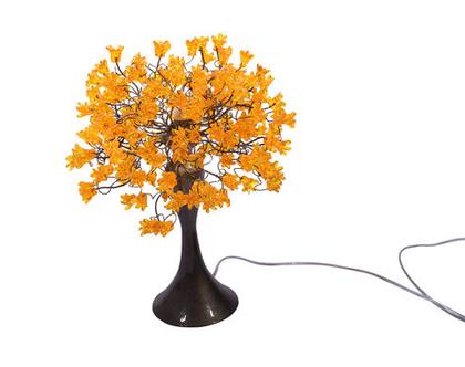 מנורת שידה פרחים קופצניים צהובים