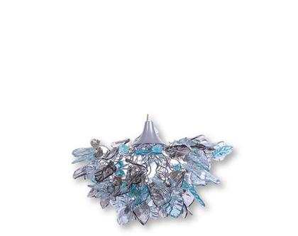 מנורת תקרה פרחים עלים בצבעי כחול ואפור