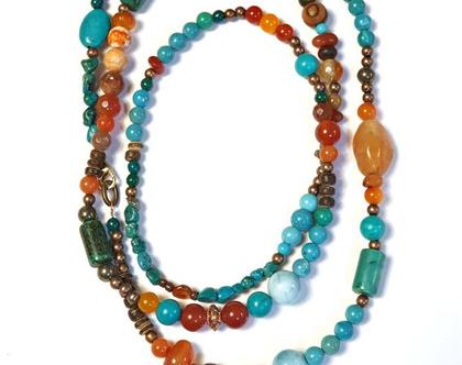 שרשרת טורקיז ארוכה, שרשרת אבנים צבעונית טורקיז קרנליאן, שרשרת מאלה אורגנית מאבני חן טבעיות