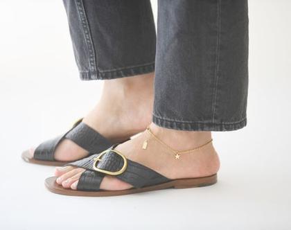 צמיד לרגל סטאר - צמיד רגל כוכב - צמיד רגל עדין לאישה - צמידי רגל זהב - תכשיטי כוכבים - צמידים לרגל לאישה - צמידי רגליים