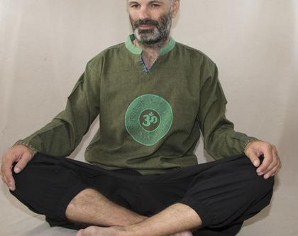 חולצה אתנית עם הדפס OM - ירוק