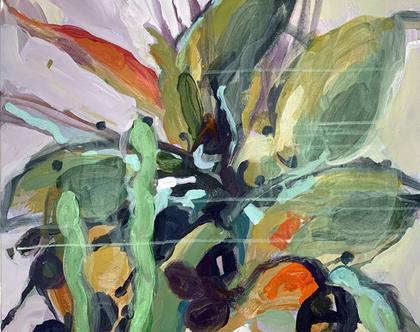 ציור טרופי, צבעוני, אמנות מודרנית לבית, אומנות ישראלית מקורית, ציור אורגינלי על קנבס