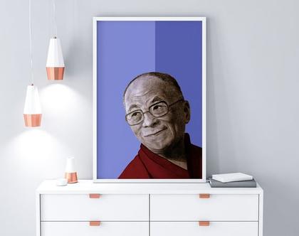 פוסטר, הדפס ציור מקורי, עיצוב הבית, תמונה צבעונית, ציור פורטרט, דאלי לאמה