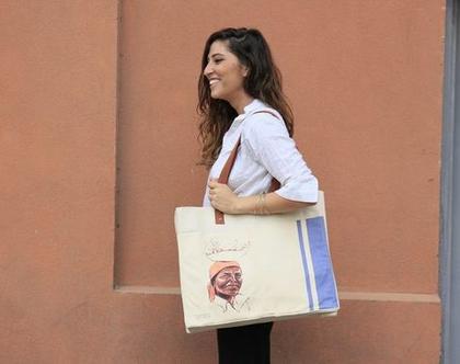 india love, תיק צד מעוצב, תיק כותנה קנבס, תיק שק, תיק מודפס, אשה הודית, תיק טבעי, תיק נשים, תיק מיוחד