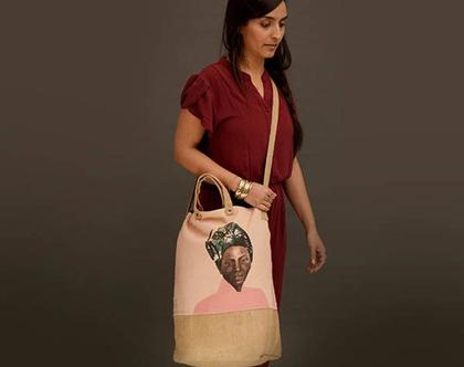 תיק צד כותנה קנבס, תיק טבעוני, תיק נשים, תיק גב, תיק עם רוכסן, אשה אפריקאית