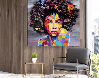 תמונת קנבס African woman art| תמונה מיוחדת לעיצוב הבית | תמונות מיוחדות לעיצוב | תמונות מעוצבות לבית | תמונת גרפיטי מיוחדת