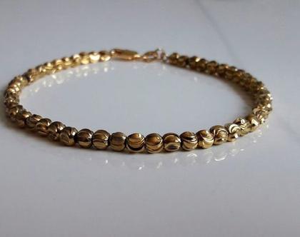 צמיד זהב כדורי חיתוך יהלום מצופה 22 קארט לרגל יוקרתי ואיכותי לגבר או לאישה