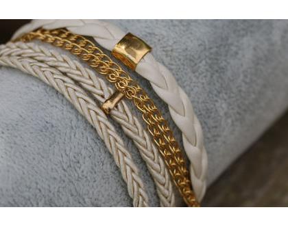 צמיד ליפוף בגווני קרם וזהב / צמיד שכבות מתנה לאישה.B364