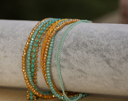 צמיד ליפוף בגווני טורקיז, צהוב וזהב / צמיד שכבות מתנה לאישה. / B365