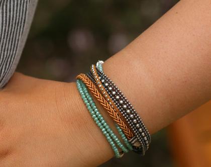 צמיד ליפוף בגווני כסף טורקיז וחום / צמיד שכבות מתנה לאישה/ צמיד מתלפף / B365