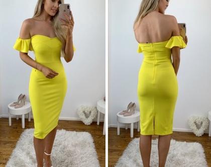 שמלת ערב צהובה| שמלת ערב מידי| שמלת ערב צמודה