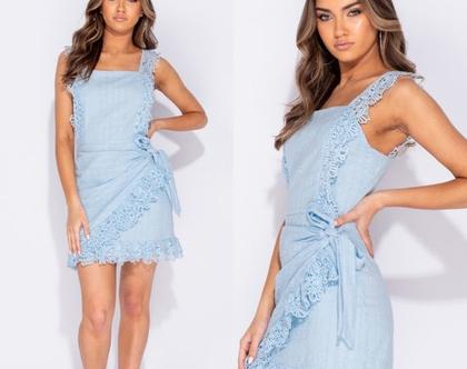 שמלה כחולה תחרה | שמלה מיני בצבע תכלת | שמלה מיני כחולה