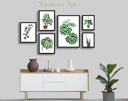 סט 6 הדפסים - Botanical leaves בעיצוב מקורי | הדפס עלים ירוקים | תמונות לעיצוב הבית והמשרד