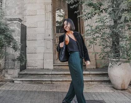 מכנסי אסקדה, מכנסי וינטג', מכנס ירוק כהה, מכנסיים אובר סייז, מכנסיים רחבות, מכנס ארוך, מותן גבוהה, מכנס נוח, מכנס אלגנטי, מידה M
