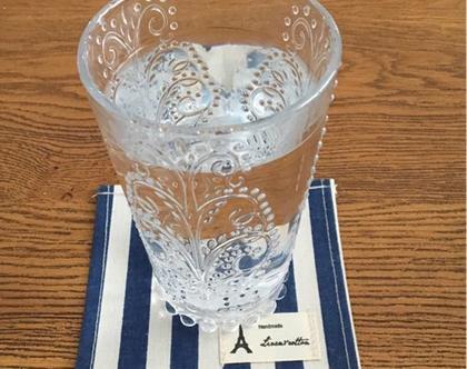 תחתית לכוס מבד קנבס פסים מקסים ומיוחד| לשולחן בסלון |לעיצוב שולחן אירוח - תחתית אישית