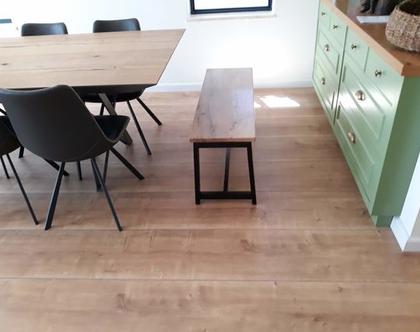 ספסל/שולחן A צבעוני מעץ אלון ובוק | ספסל לפינת אוכל | ספסל לאמבטיה | ספסל לחדר שינה | ספסל פסנתר