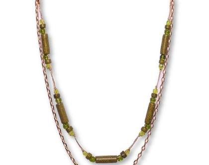 שרשרת ירוק זית, שרשראות מיוחדות לנשים, שרשרת אופנתית, שרשרת קרמיקה, שרשרת עדינה