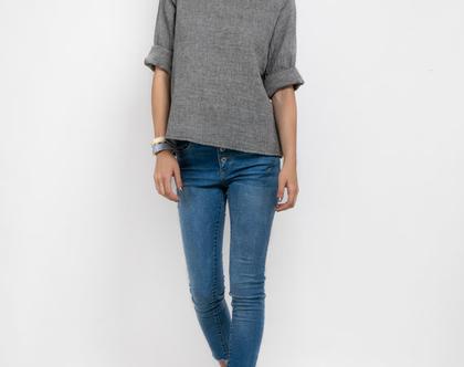 חולצת כותנה בגוון אפור-דגם מקרון