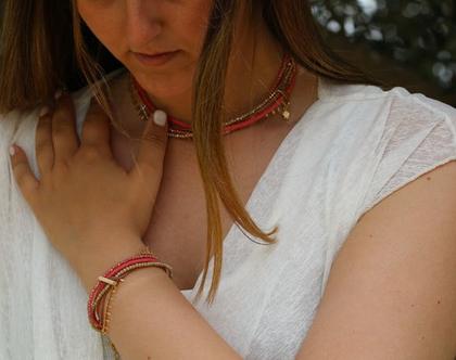 צמיד ליפוף בגווני זהב, ורוד עתיק ובז' / צמיד שכבות מתנה לאישה / B381