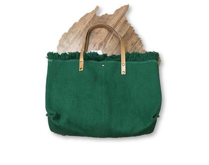 תיק בד מעוצב, תיק ירוק, תיק ירוק מיוחד, תיק בד עם רצועות עור, תיק בד איטלקי