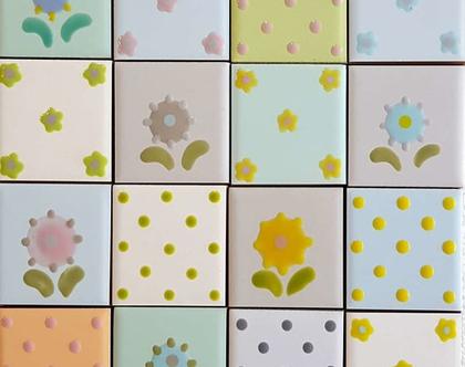 2 - 16 אריחים מצויירים לעיטור במבצע - 30% הנחה, פרחים ונקודות באפור, תכלת, ירוק, ורוד וצהוב