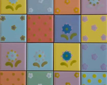 5 - 16 דקורים במבצע - 30% הנחה, הם מבריקים צבעוניים מצוירים בעבודת יד בכתום, צהוב, כחול וסגול