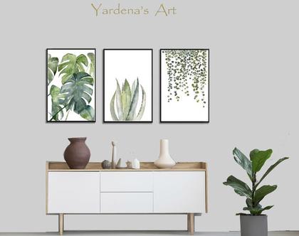סט הדפסים - Botanical leaves בעיצוב מקורי | הדפס עלים ירוקים | תמונות לעיצוב הבית והמשרד