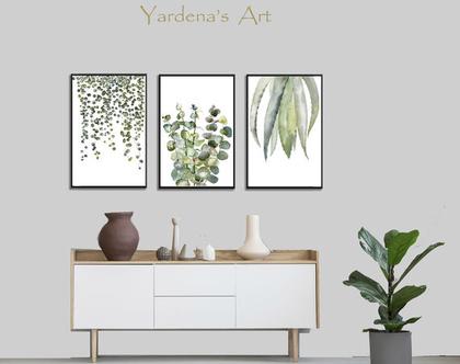 סט הדפסים - Botanical leaves בעיצוב מקורי   הדפס עלים ירוקים   תמונות לעיצוב הבית והמשרד