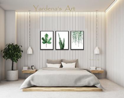 סט הדפסים - Botanical leaves בעיצוב מקורי | הדפס עלים ירוקים | הדפסים בעיצוב מינימליסטי| עיצוב נורדי| תמונות לעיצוב הבית והמשרד