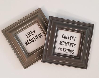 תמונה ממוסגרת עם מסגרת בצבע אפור וינטז׳ ועם הדפס אמירה על נייר צילום איכותי
