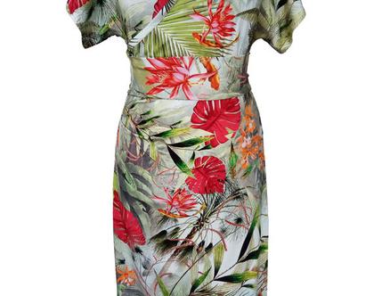 שמלת קימונו טרופית פרחונית