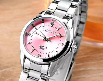 שעון לאישה כסף ורוד יוקרתי אל חלד סטנלי סטייל עמיד במים איכותיי