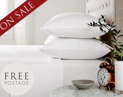 סט מקסים בצבע לבן מלכותי בצפיפות גבוהה של 300 חוטים לאינטש