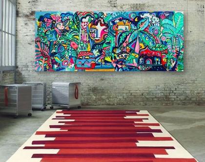 תמונה ענקית לבית של האמנית ענבר רייך, תכשיטים לקירות, ציורים גדולים, ציור צבעוני, אומנות ישראלית