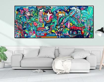 הדפס בטכניקת מיקס מדיה ! בתוספת נצבע של האמנית ענבר רייך, תכשיטים לקירות, עיצוב פנים צבעוני ,ציור צבעוני, ציור מקורי, אמנות ישראלית