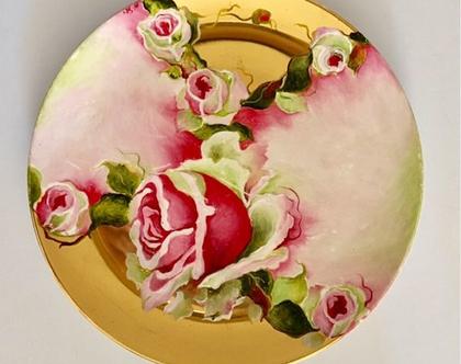 צלחת פורצלן גדולה ומקסימה - ציור יד של אומנית ישראלית - שלוה - בשילוב זהב 14 קראט