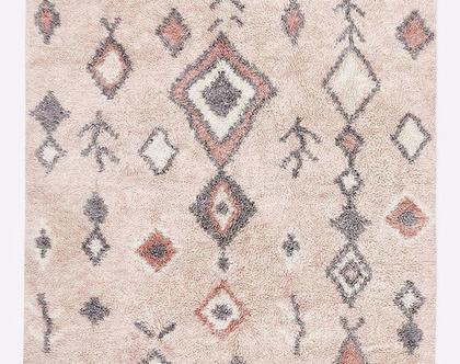 שטיח שאגי מרוקאי בגוונים ורודים