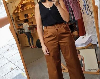 מכנסי פנסים מתרחבים בצבע חום או שחור, מכנסי 7/8, מכנסי כותנה לקיץ, מכנסיים יפים לקיץ, מכנסי קיץ